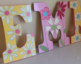 Custom Painted Girl's Wall Letters - Daisy Garden