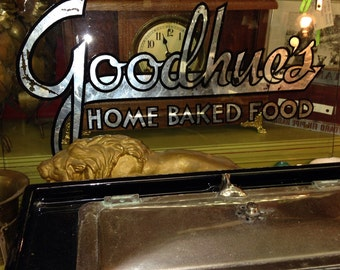 Antique Victorian goodhues reverse painted glass old general store steampunk sign old advertising