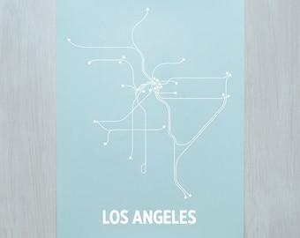 LA Screen Print - Light Blue/White