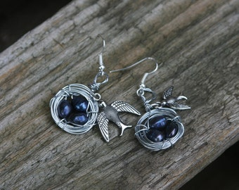 Handmade Wire Birds Nest Earrings with 3 Black Pearl 'Eggs' and Bird Charms