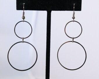 Dark Brass Color Two Circle Dangle Earrings - Pierced