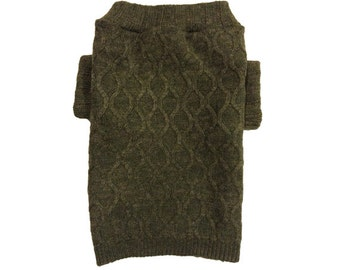 Designer Dog Sweater, Small Green Designer Knit Silk and Alpaca Blend, Pet Clothes ,Puppy Boutique 0071