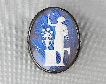 Butterfly wing Brooch jewelry Pendant, Sterling silver Blue Morpho Aphrodite Art Deco jewelry