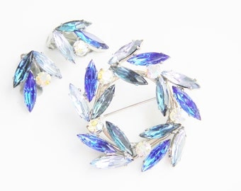 Vintage Blue Rhinestone Brooch Earrings  1960s Mid Century