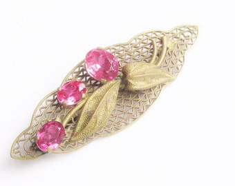 SALE Vintage Czech Art Nouveau Pink Rhinestone Brooch 20s