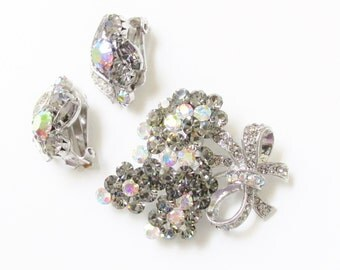 Vintage Rhinestone Brooch & Earrings Smoke - Pink - 60s