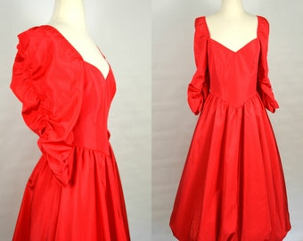 1980s Red Formal Dress with Bubble Skirt, Ruched Sleeves, Sweetheart Neckline
