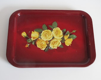 Vintage Deep Red with Yellow Roses TV Tray - Set of Five