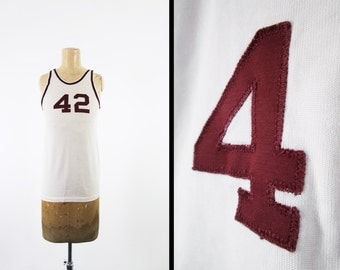 Vintage 50s Basketball Jersey Heavy Knit Number 42 White Sports Tank Top - XS / Small