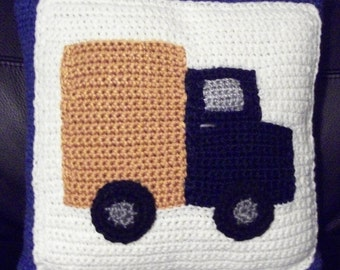 Truck Throw Pillow Cover  crochet COVER ONLY  Pillow not included
