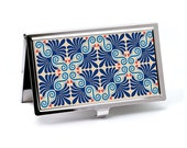 Vintage style Business Card Case, Palmetto Blue Retro Design, Slim Metal Wallet, Credit Card Case, Employee Gift, Men or Women's Accessory