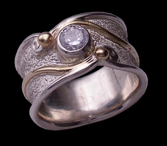 Hand made, bezel set cubic zirconia, 10 karat yellow gold and sterling silver 'serenity' ring by Rubyblue Jewelry