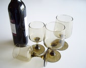 Vintage Wine Glasses Brown Tawny Accent Libbey Red Wine White Wine Set of 4