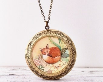 FOX LOCKET large- Red Fox Necklace Made From Our Original Design - Fox Gift