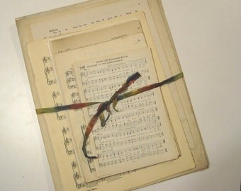 Antique Music Bundle - 40 song book, sheet music and hymnal pages - vintage music pages - church hymnbook pages