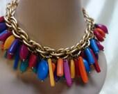 LES BERNARD Inc. Colorful Necklace & Bracelet Demi Parure Must see!
