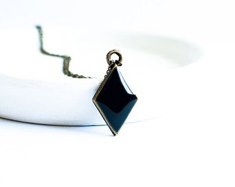 Small rhombus necklace, geometric jewelry, black necklace pendant,