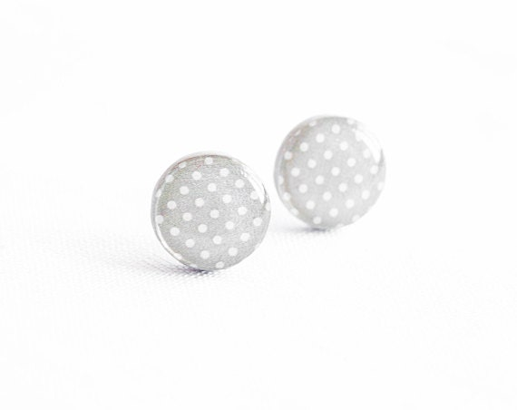 12 colors polka dot stud earrings gray earrings post, small stud earrings, grey stud earrings
