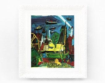 6x7 Vintage Madeline Print. Original French Book Plate Illustration Ships Ferris Wheel Lion  France Paris Ludwig Bemelmans