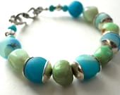 Handmade Southwestern Blue Druzy/Drusy Green Chrysophase Bracelet