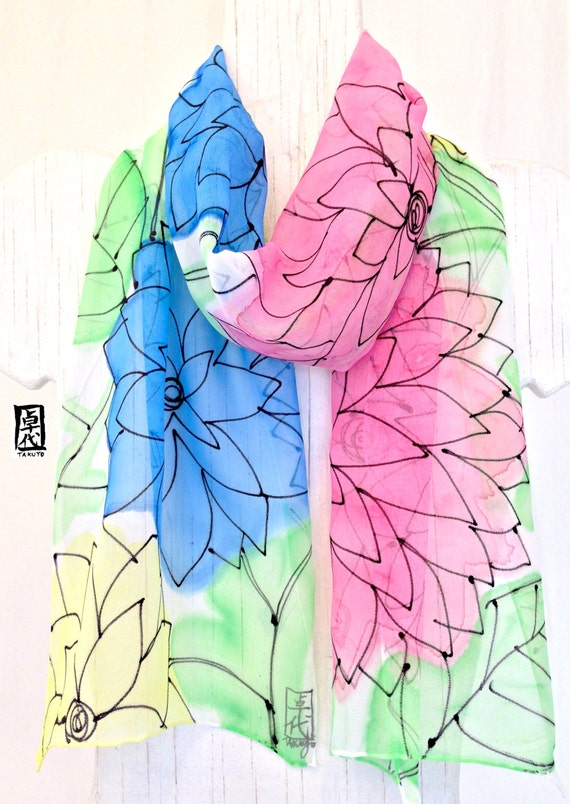Silk Scarf Handpainted, Rainbow Sorbet Scarf, Muticolor Floral Silk Chiffon Scarf with Blue, Pink, Yellow and Green. 10x58 inches.