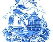 Blue Willow Chippendale Style Oriental Scene Toile - Digital Image - Vintage Art Illustration