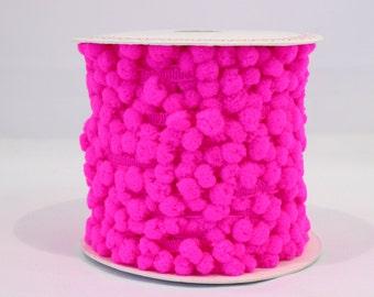 Bright pink pom pom trim - 5m