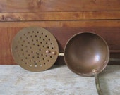 Copper Ladle and Draining Spoon - French Country Farmhouse Kitchen