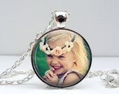 Personlized Photo Pendant Necklace Glass Photo Pendant Handcrafted Customized Jewelry by Lizabettas