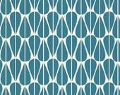 Westwood - Little Leaves Teal Canvas - Organic CANVAS Cotton Fabric from Monaluna