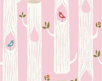 Circa 52 - Tree Stripes Pink - Organic Cotton Fabric by Monaluna from Birch Fabrics