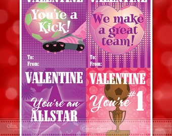Valentine cards, Valentine Day cards, printable Valentine cards, instant download Valentines cards, soccer Valentine cards, ID124