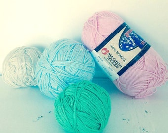 Sale Cotton Yarn, Fingering weight, Pink, blue, green and beige
