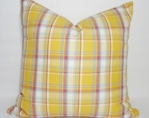 Yellow Red Plaid Pillow Cover Decorative Plaid Country Throw Pillow Cover 18x18