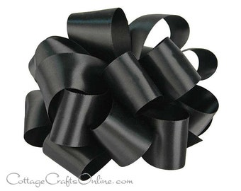 "Black Satin Ribbon, 1 1/2"" wide, Double Faced -  THREE YARDS - Offray  #30,  Double Sided Satin, Wedding Sash Ribbon, Sewing Trim"