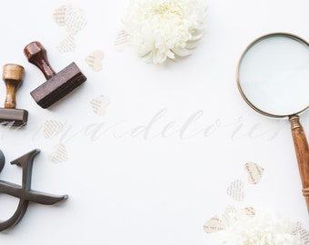 Styled Stock Photo, Vintage Items Stock Product Photography, Magnifying Glass, Ampersand, Vintage Rubber Stamps, Custom Product Stock Photos