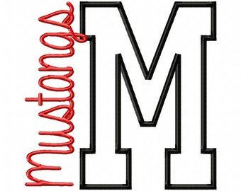 M-Mustangs-side - Applique - Machine Embroidery Design - 10 Sizes