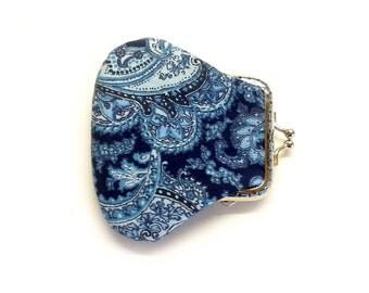 Mini Coin Purse - Fabric coin purse - Small  coin purse - Framed Clutch Purse - Silver Frame