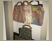 4 Vintage Barkcloth Sewing Bags 1940s Fabric Wood Plastic Handles – Lot of 4