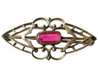 19th Century Brooch Rose Stone 12K Gold Tiny Lace Lingerie Pin