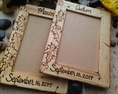 Set of 7 Fall Leaves Personalized Wood Frames for your Bridal Party Wedding Favors for Autumn Wedding