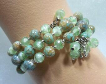 Green Bead Bracelet, Wrap Around Green Bracelet, Wire Wrapped Bead Dangle Ends, Wrap Around Cuff w/Bead Dangle Ends, Shades of GREEN Beads