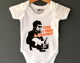 Time I Need A Changin' - Bob Dylan Baby Onesie. Alternative baby Bodysuit / Cool Baby gift. Bestseller.
