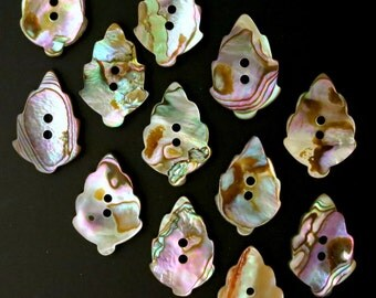 """4 Abalone Natural Colorful Shell Leaf Buttons 1"""" X 3/4"""" 4 Abalone Shell Leaf - 4 BUTTONS"""