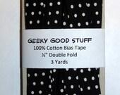 "Handmade Cotton Bias Tape - Black and White Polka Dot - 1/2"" Double Fold - 3 Yards"