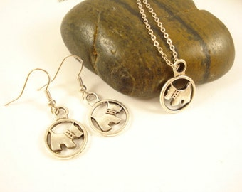 Cute Dog Set Jewellery Silver Tone Necklace and Earrings EN-79