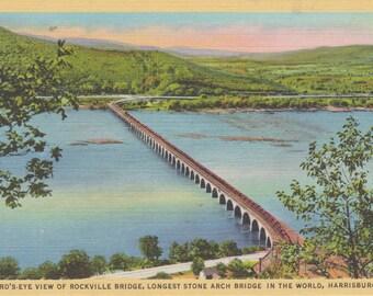 Harrisburg, Pennsylvania, Rockville Bridge, Stone Arch Bridge - Linen Postcard - Unused (CCC)