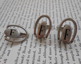 "Vintage ""F"" Monogram Cufflinks & Tie Clip. Wedding, Men's, Groomsmen Gift, Dad, Christmas. Personalized."