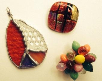 Trio of Bright Colored Glass Pendants - Citrus Fruit, Hippie Peace Sign Suncatcher, Geometric Dichroic Glass