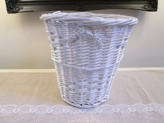 White shabby waste basket wicker trash basket barbola - Wicker trash basket ...
